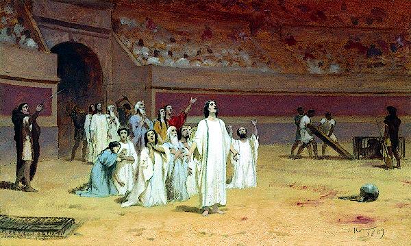 Entering the arena (1869) - Fyodor Bronnikov