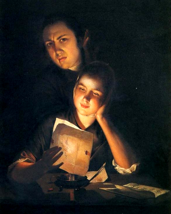 A Girl reading a letter by Candlelight, with a Young Man peering over her shoulder (1762) - Joseph Wright of Derby