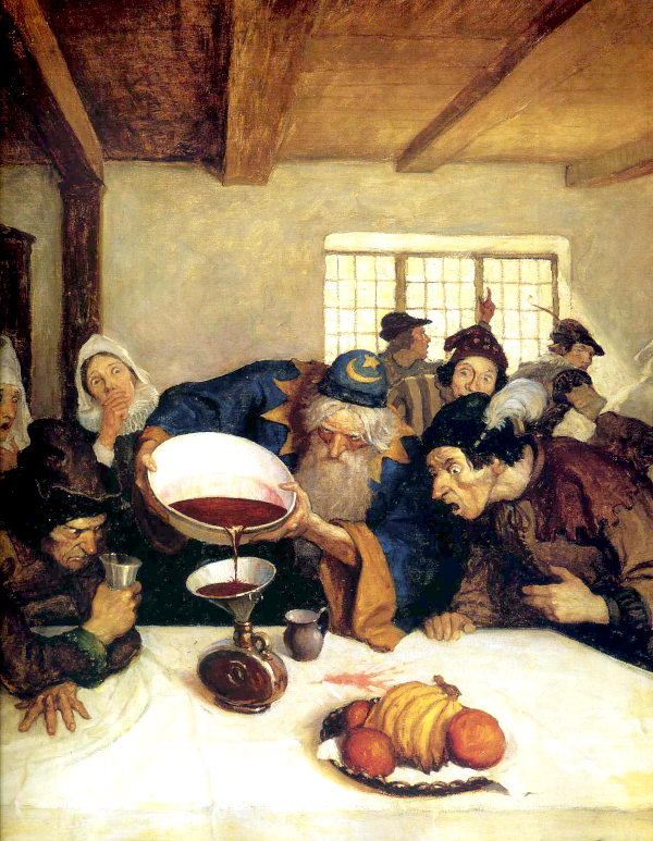 The astrologer emptied the whole of the bowl into the bottle (1916) - N.C. Wyeth