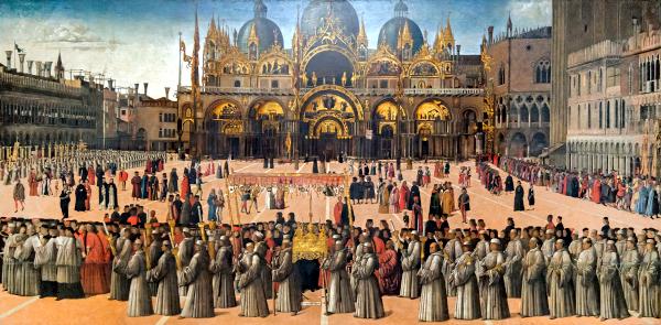 Procession sur la Place Saint-Marc (1496) - Gentile Bellini