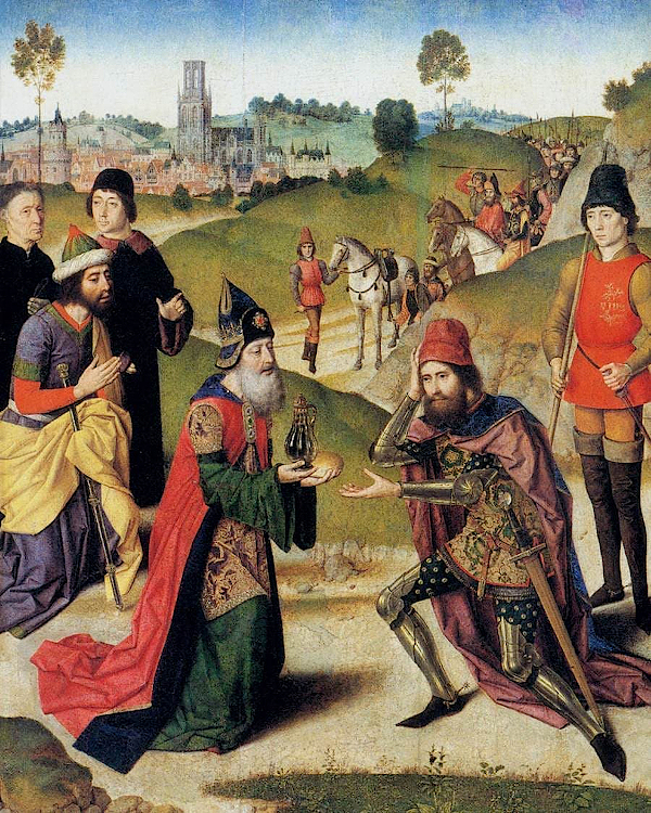 the meeting of abraham and melchizedek (1465) - Dirk Bouts