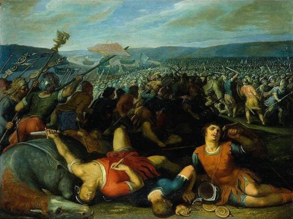 Batavians Defeating Romans on the Rhine (1613) - Otto van Veen