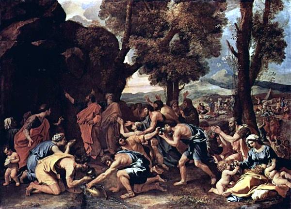 Moïse faisant jaillir l'eau du rocher (de 1633 à 1635) - Nicolas Poussin