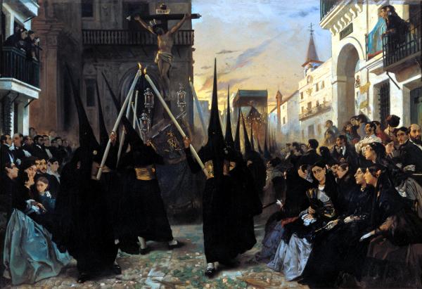 A confraternity in procession along calle genova (1851) - Alfred Dehodenq