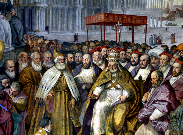 Submission of Frederick Barbarossa before Pope Alexander III during the signing of the Treaty of Venice (1563) - Francesco de' Rossi (Francesco Salviati), Cecchino