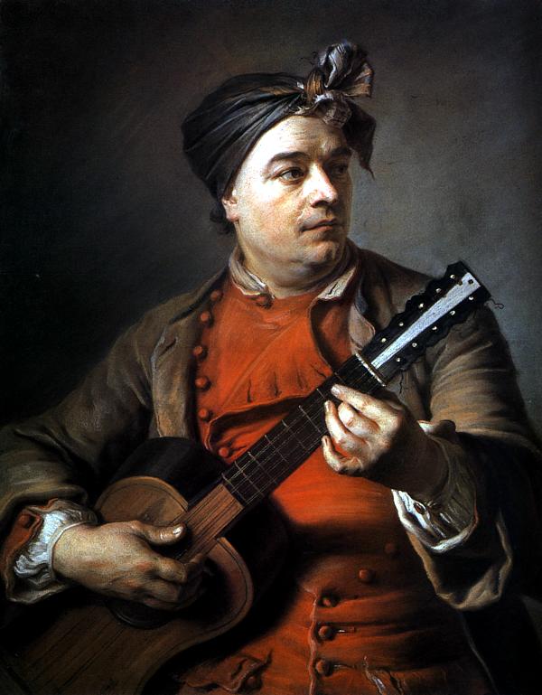 Portait de Jacques Dumont jouant de la guitare (1742) - Maurice Quentin de La Tour